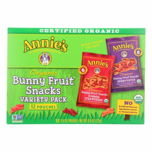 Annie's Homegrown Organic Bunny Fruit Snacks Variety Pack - Case of 12 - 9.6 oz. Perspective: front