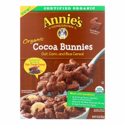 Annie's Homegrown Organic Cocoa Bunnies Oat with Corn and Rice Cereal - Case of 10 - 10 oz. Perspective: front