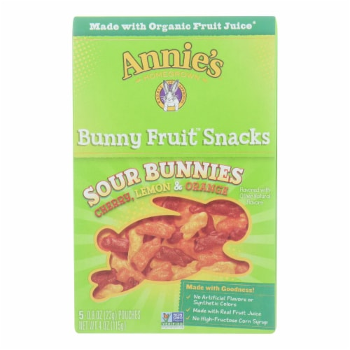 Annie's Sour Bunnies Bunny Fruit Snacks (10 Pack) Perspective: front