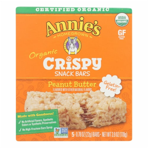 Annie's Homegrown Organic Peanut Butter Crispy Snack Bars Perspective: front