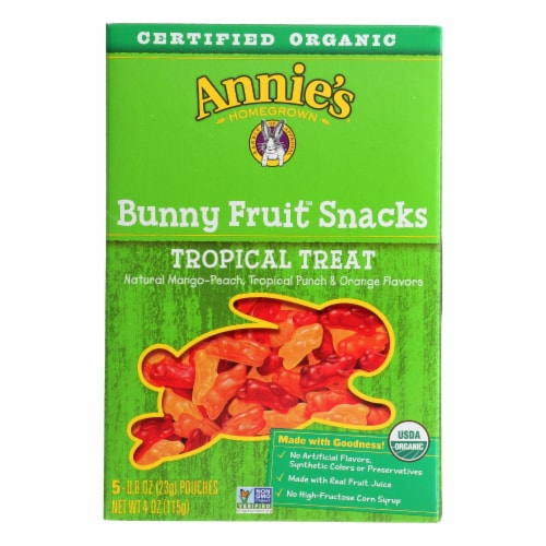 Annie'S Homegrown Fruit Snack Tropical Treat - Case Of 10 - 4 Oz Perspective: front