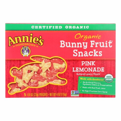 Annie'S Homegrown Fruit Snack Pink Lemonade - Case Of 10 - 4 Oz Perspective: front
