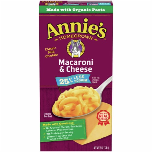Annie's Reduced Sodium Classic Mild Cheddar Macaroni & Cheese Case Sale Perspective: front