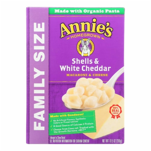 Annie's Homegrown Family Size Shells and White Cheddar Mac and Cheese - Case of 6 - 10.5 oz. Perspective: front