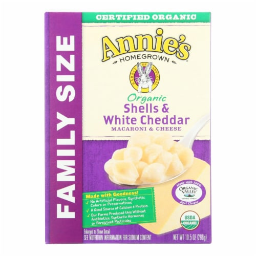 Annies Organic Family Size Shells White Cheddar Macaroni and Cheese Case of 6 - 10.5 oz. Perspective: front