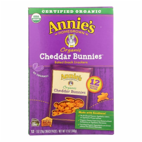 Annie's Homegrown Organic Bunny Cracker Snack Pack - Cheddar - Case of 4 - 12/1 oz Perspective: front