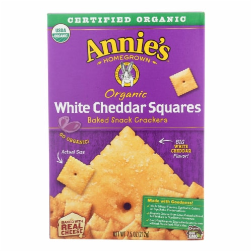 Annie's Homegrown Organic White Cheddar Squares (12 Pack) Perspective: front