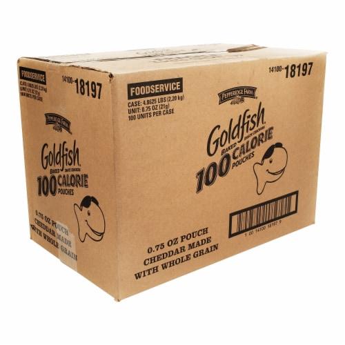 Pepperidge Farm 100 Calorie Whole Grain Cheddar Goldfish - 0.75 oz. bag, 100 per case Perspective: front