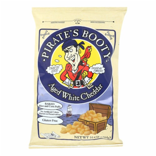 Pirate's Booty Aged White Cheddar Baked Rice and Corn Puffs Perspective: front