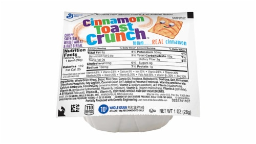 General Mills Cinnamon Toast Crunch Cereal, Bowl Pak, 1 Ounce -- 96 per case. Perspective: front