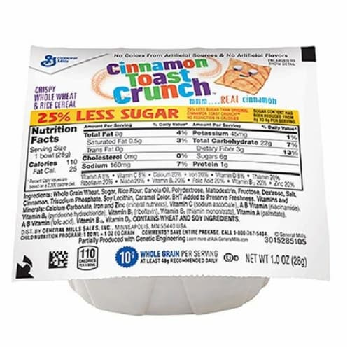 General Mills Reduced Sugar Cinnamon Toast Crunch Cereal, 1 Ounce -- 96 per case. Perspective: front
