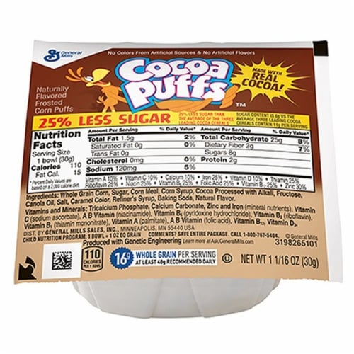Cocoa Puffs Reduced Sugar Cereal 1.06 Ounce -- 96 per case Perspective: front