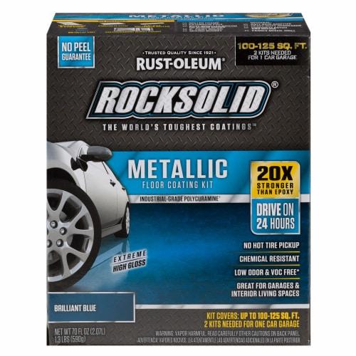 RockSolid Polycuramine Metallic Flr Coating Brilliant Blue 70oz Kit (2-pack/1 car garage kit) Perspective: front