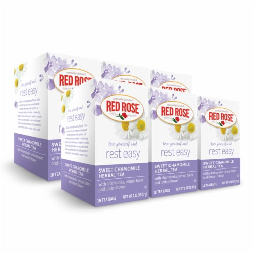 Red Rose Blossoms Sweet Chamomile Herbal Tea 18ct - 6 Pack Perspective: front