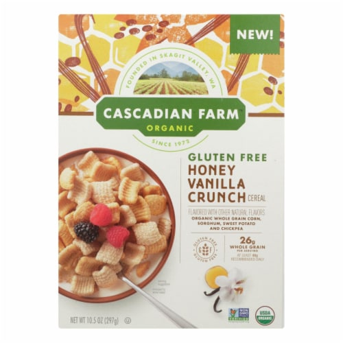 Cascadian Farm Organic Honey Vanilla Crunch Gluten Free Cereal (12 Pack) Perspective: front