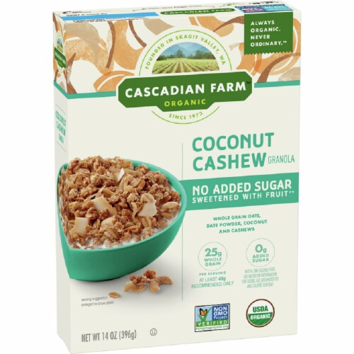 Cascadian Farm Organic Cereal Coconut Cashew, 14oz (Pack of 6) Perspective: front