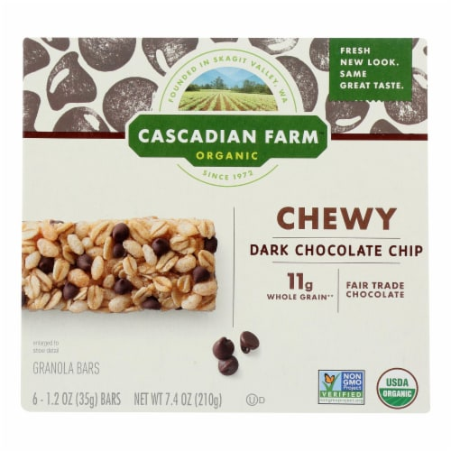 Cascadian Farm Granola Bar - Organic - Chewy - Chocolate Chip - 7.4 oz - case of 12 Perspective: front