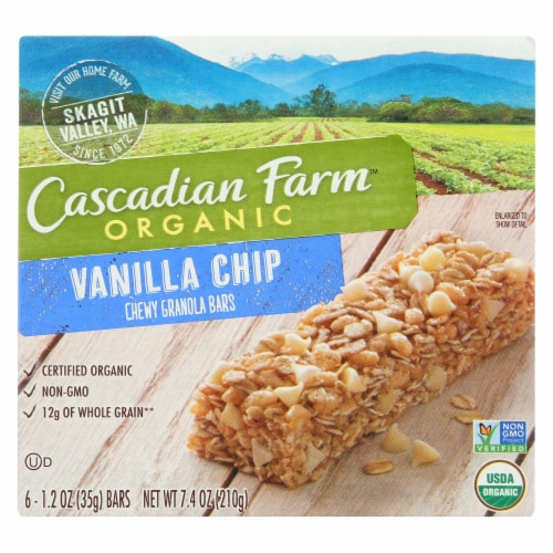 Cascadian Farm Organic Chewy Granola Bars - Vanilla Chip - Case of 12 - 7.4 oz. Perspective: front