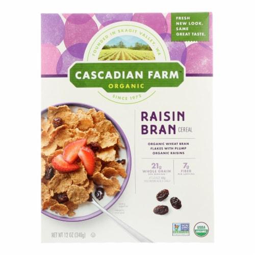 Cascadian Farm Organic Cereal - Raisin Bran - Case of 10 - 12 oz Perspective: front