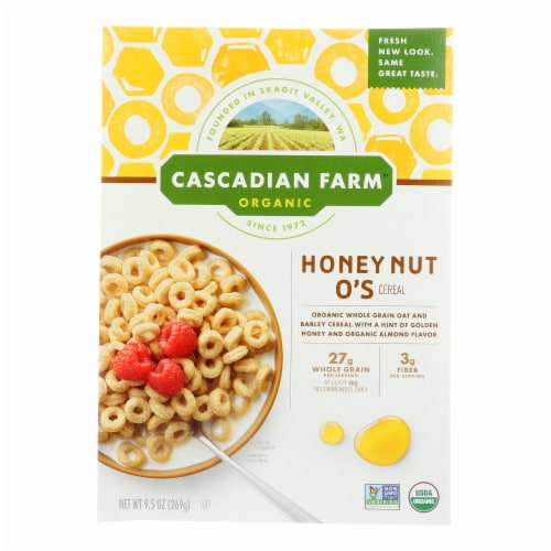 Cascadian Farm Organic  Honey Nut O's Cereal Perspective: front