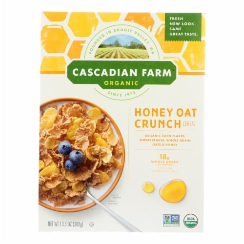 Cascadian Farm Cereal - Organic Corn Flakes Whole Grain Oats And Honey - Case of 10 - 13.5 oz Perspective: front