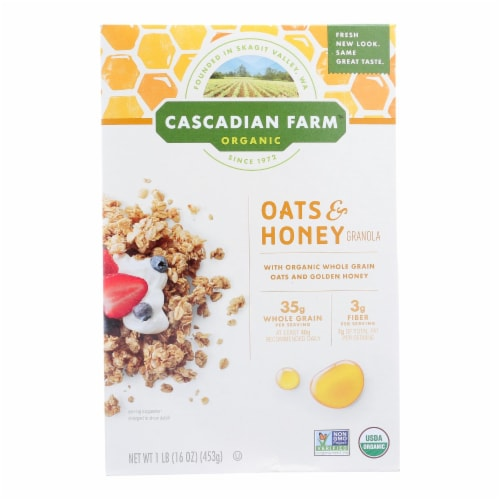 Cascadian Farm Organic Granola Cereal - Oats and Honey - Case of 6 - 16 oz Perspective: front