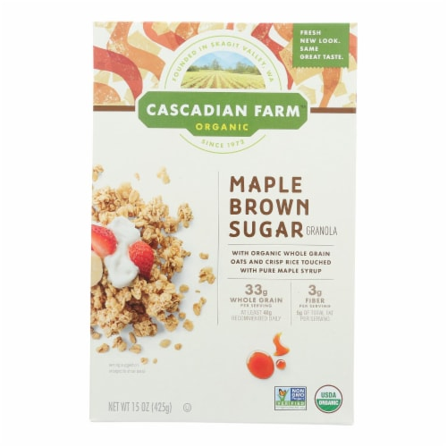 Cascadian Farm Organic Granola Cereal - Maple Brown Sugar - Case of 6 - 15 oz Perspective: front