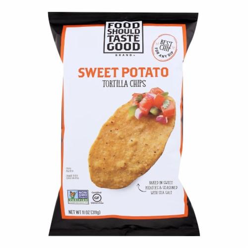 Food Should Taste Good Sweet Potato Tortilla Chips - Sweet Potato - Case of 12 - 11 oz. Perspective: front