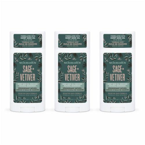 Schmidt's Hemp Sage & Vetiver Aluminum Free Antiperspirant Deodorant Perspective: front