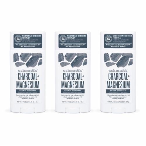 Schmidt's Aluminum-Free 24-Hour Odor Protection Charcoal & Magnesium Vegan Natural Deodorant Stick Perspective: front