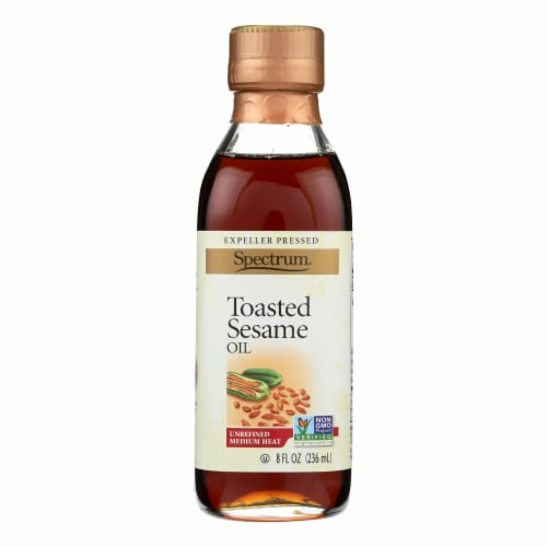 Spectrum Naturals Unrefined Toasted Sesame Oil - Case of 6 - 8 Fl oz. Perspective: front