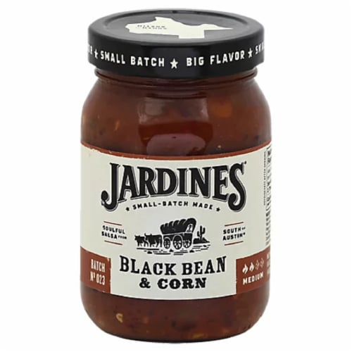Jardines  Black Bean & Corn Meduim Gluten Free Salsa, 16oz (Pack of 6) Perspective: front