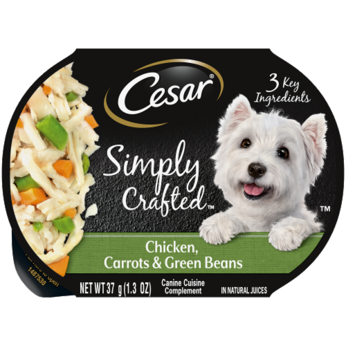 Cesar Simply Crafted Chicken Carrots & Green Beans Wet Dog Food Perspective: front