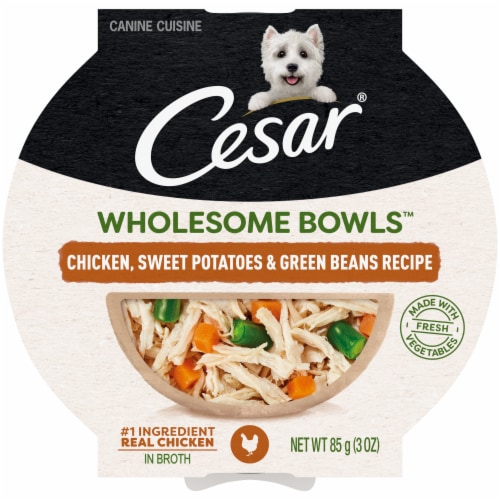 Cesar Wholesome Bowls Chicken Sweet Potatoes Green Beens Wet Dog Food Perspective: front