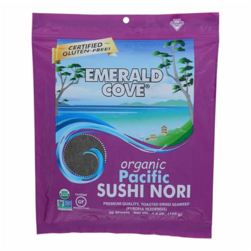 Emerald Cove Organic Pacific Sushi Nori - Toasted - Silver Grade - 50 Sheets - Case of 4 Perspective: front