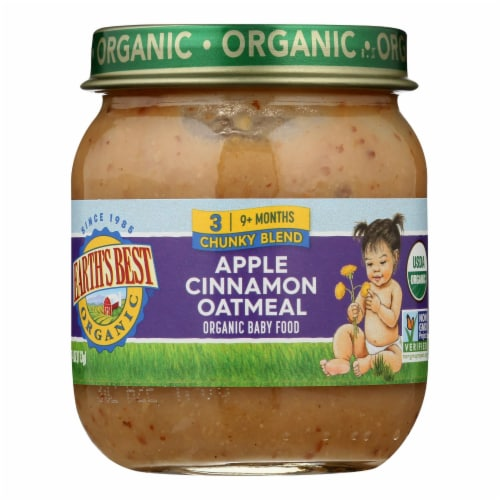 Earth's Best - Stage 3 Apple Cinnamon Oatmeal - Case of 10-4 OZ Perspective: front