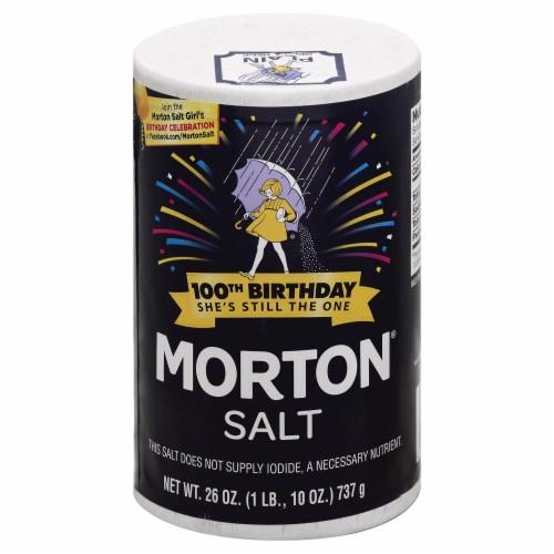 Morton Plain Salt 26 OZ POUR SPOUT (Pack of 24) Perspective: front
