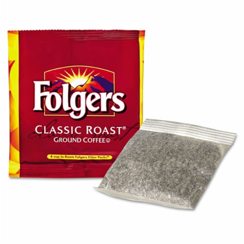 Folgers Classic Roast Ground Coffee - 0.6 oz. in room pack, 200 packs per case Perspective: front