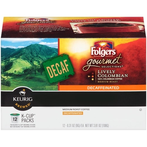 Folgers 100% Colombian Decaffenated Coffee K-Cup Pods Case Perspective: front