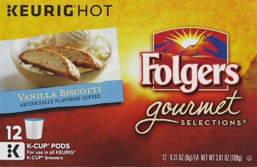 Folgers Gourmet Selections Vanilla Biscotti Flavored Coffee K-Cup Pods Perspective: front