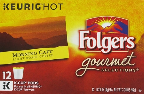 Folgers Gourmet Selections Morning Cafe Coffee K-Cup Pods 72 Count Perspective: front