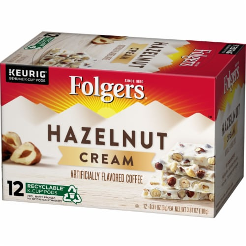 Folgers Hazelnut Cream Coffee K-Cup Pods Perspective: front