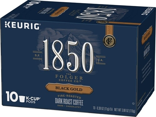 Folgers 1850 Black Gold Dark Roast Coffee K-Cup Pods Perspective: front