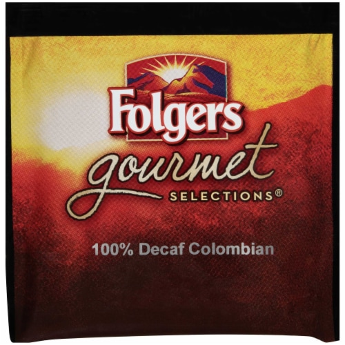 Folgers 100 Percent Colombian Decaffeinated Coffee Pods, 18 Pods per pack -- 6 packs per case Perspective: front