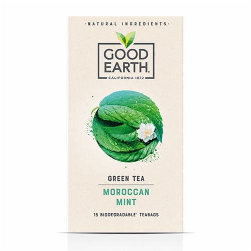 Good Earth Green Tea Moroccan Mint (15 Tea Bags Pack of 6) Perspective: front