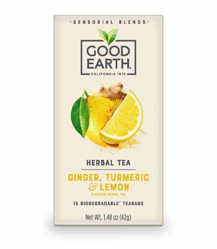 Good Earth Ginger, Turmeric & Lemon Tea(15 Tea Bags Pack of 5) Perspective: front