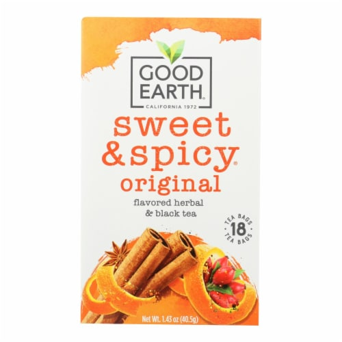 Good Earth Herbal and Black Tea - Sweet and Spicy - Case of 6 - 18 Count Perspective: front