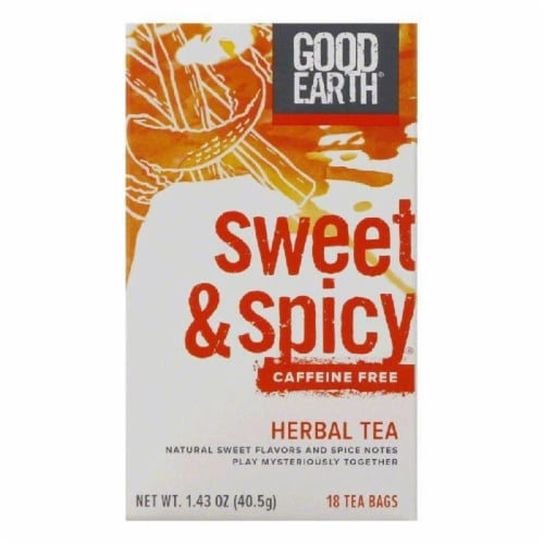 Good Earth Sweet & Spicy Caffeine Free Herbal Tea 18 ct (Pack of 6) Perspective: front