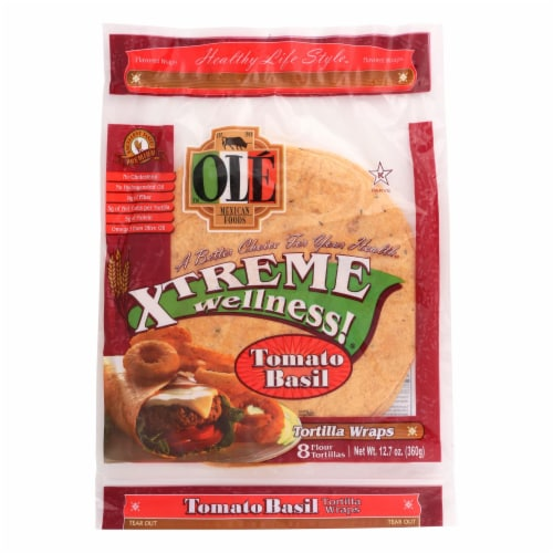 Ole Mexican Foods Tomato Basil Xtreme Wellness! Tortilla Wraps  - Case of 6 - 12.7 OZ Perspective: front