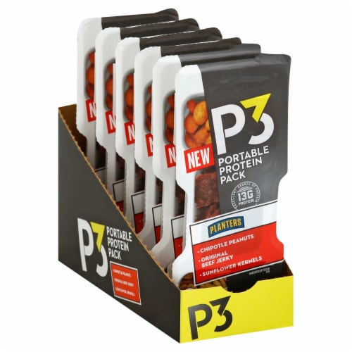 P3 Chipotle Peanuts Beef Jerky Sunflower Kernals Meal Portable Protein, 1.8 Ounce -- 12 Pack. Perspective: front